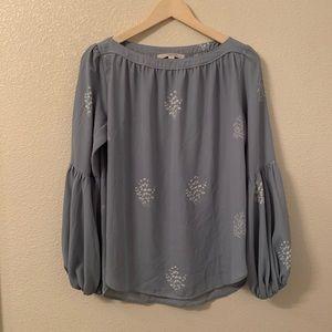 LOFT Blue Bell Sleeve Long Sleeve Blouse